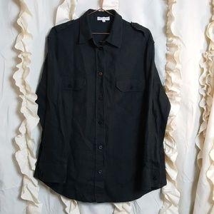 Giorgio Armani linen black button up shirt